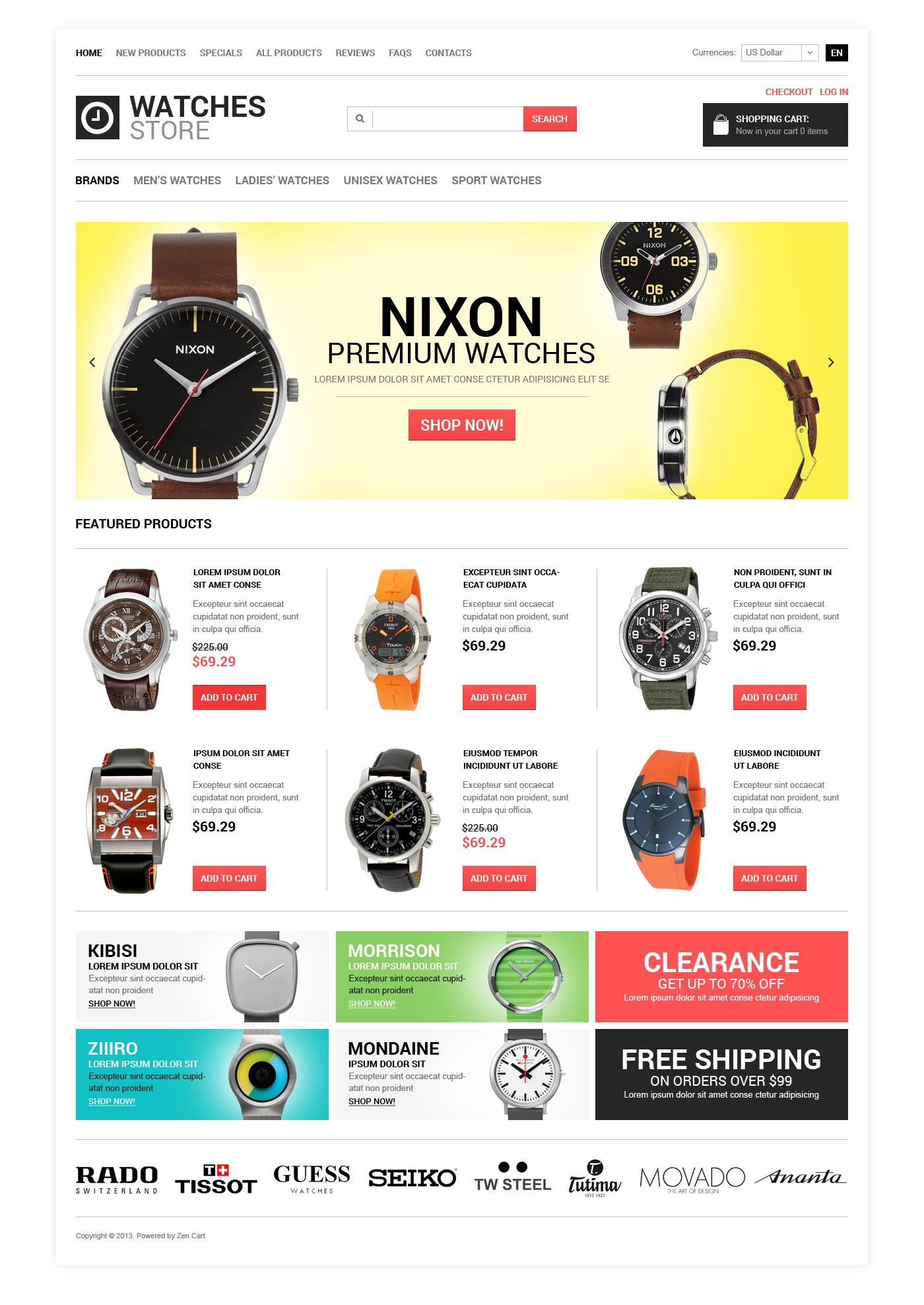 """Watches Shop"" ZenCart模板 #48468"