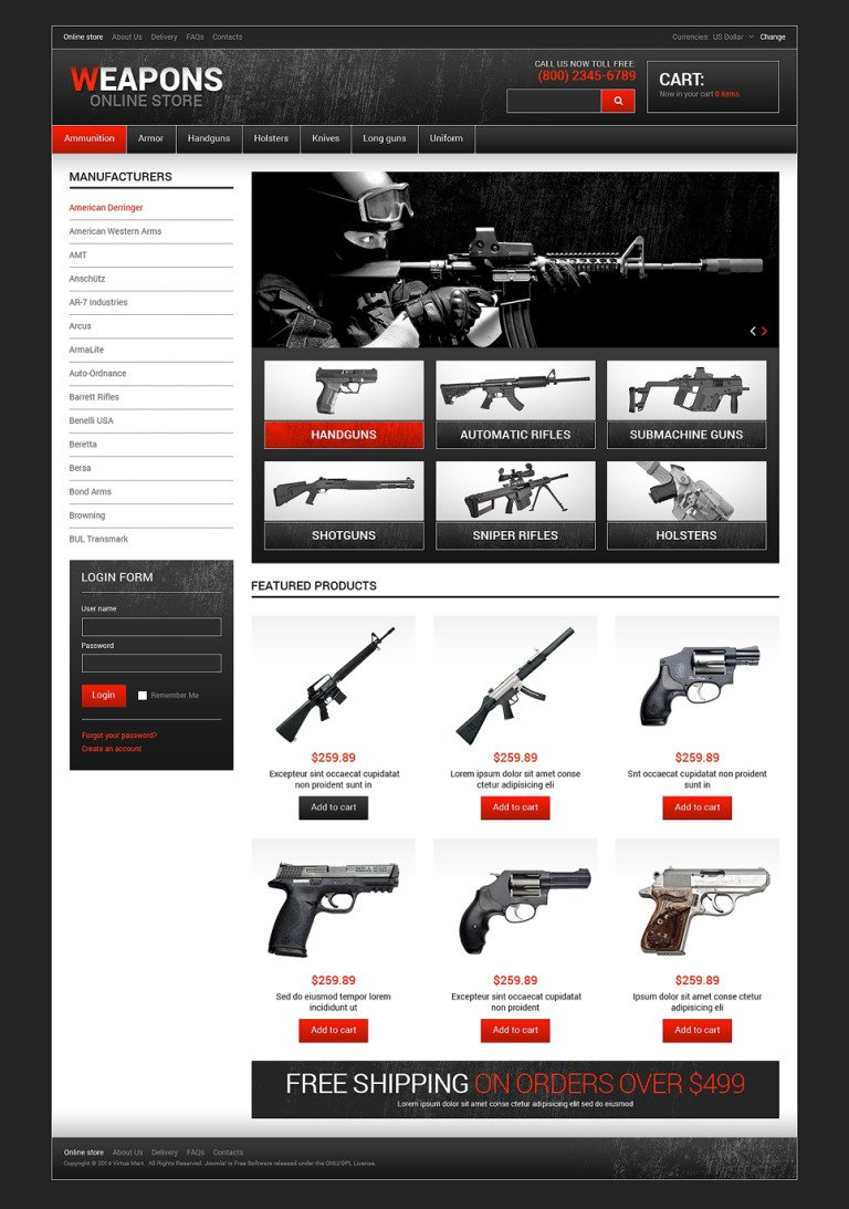 Weapon Shop VirtueMart Template New Screenshots BIG