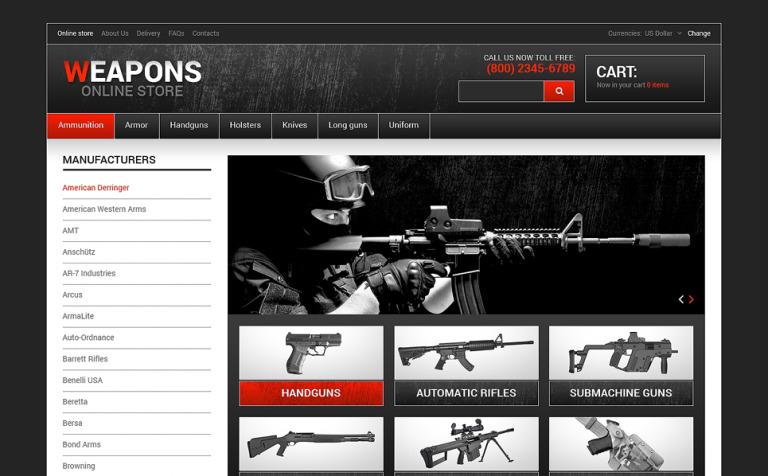 Weapon Shop VirtueMart Template #48494