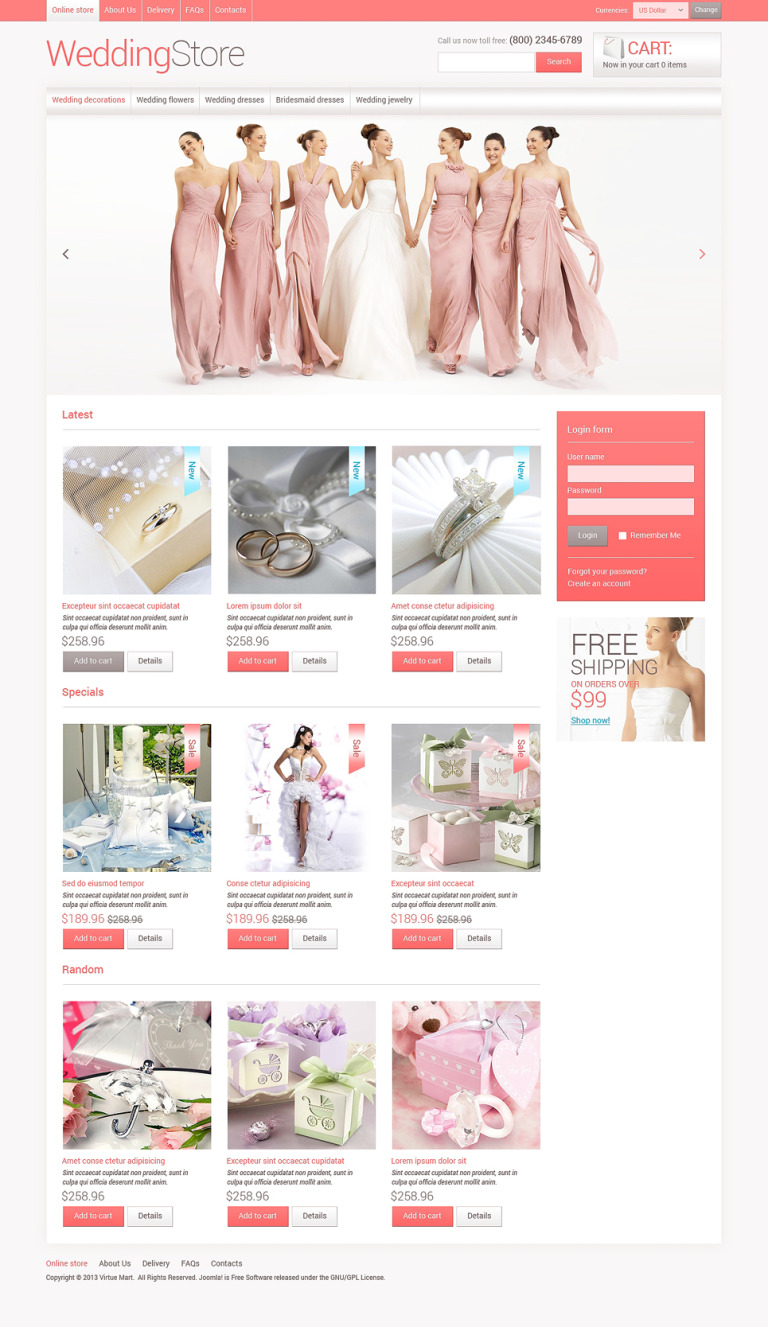 Wedding store VirtueMart Template New Screenshots BIG