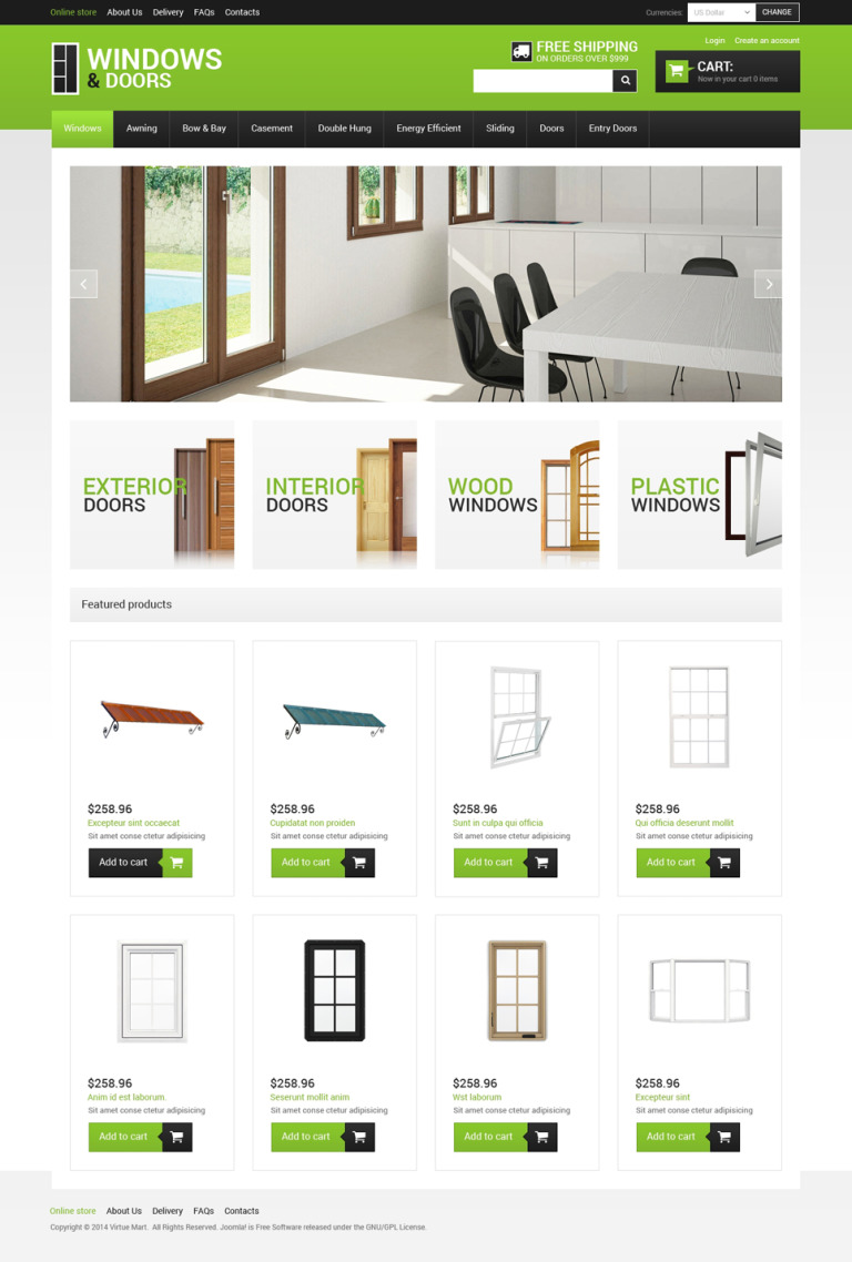 Windows & Doors VirtueMart Template New Screenshots BIG
