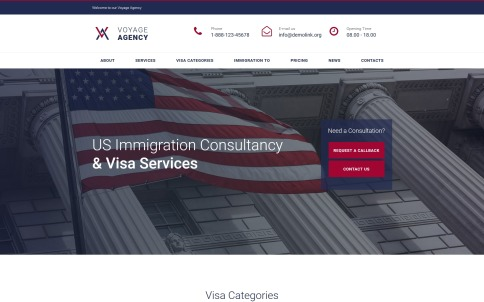 Immigration Website Template For Immigration Consultancy & Visa Services Website