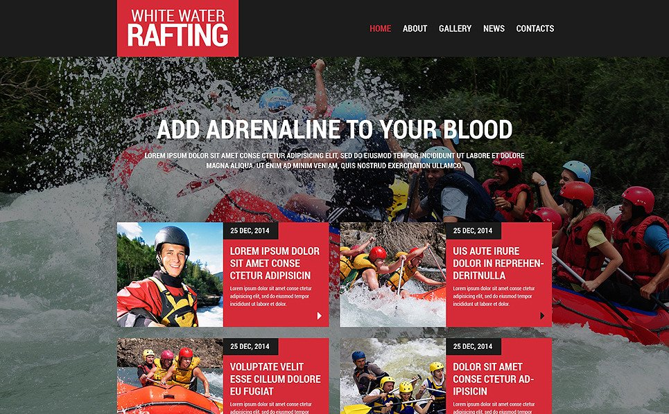 Template Siti Web Responsive #48553 per Un Sito di Rafting New Screenshots BIG