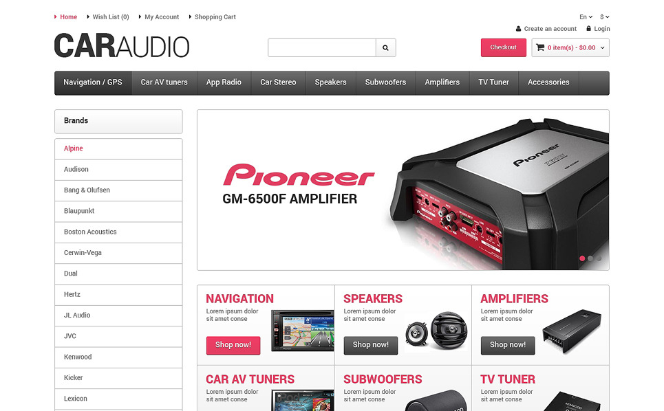 Thème OpenCart adaptatif  pour site d'audio automobile New Screenshots BIG