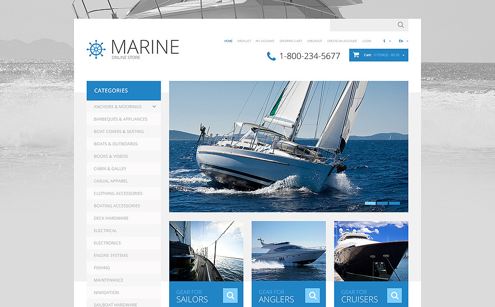 Responsywny szablon OpenCart #48577 na temat: żeglarstwo New Screenshots BIG
