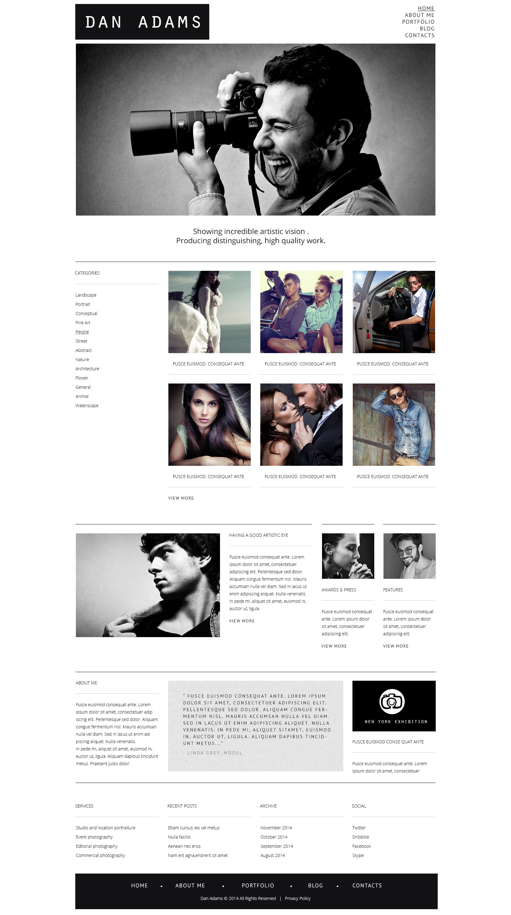 Адаптивний WordPress шаблон на тему портфоліо фотографа  №48522
