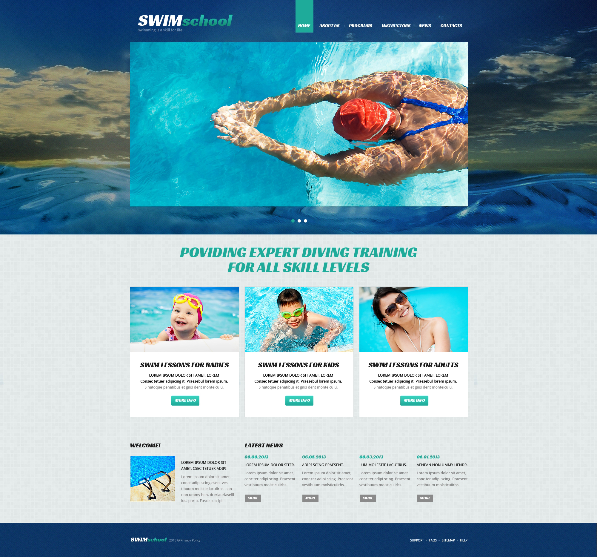 Адаптивный Joomla шаблон №48587 на тему школа плавания