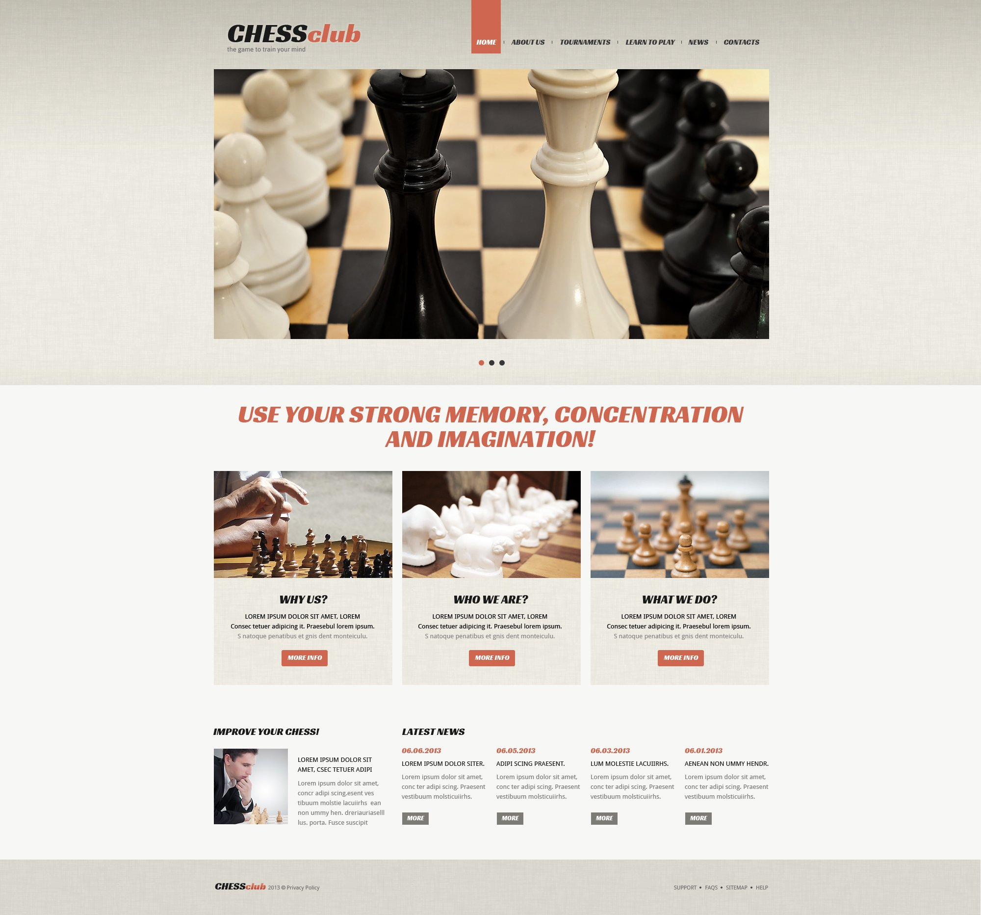 Адаптивный Joomla шаблон №48589 на тему шахматы