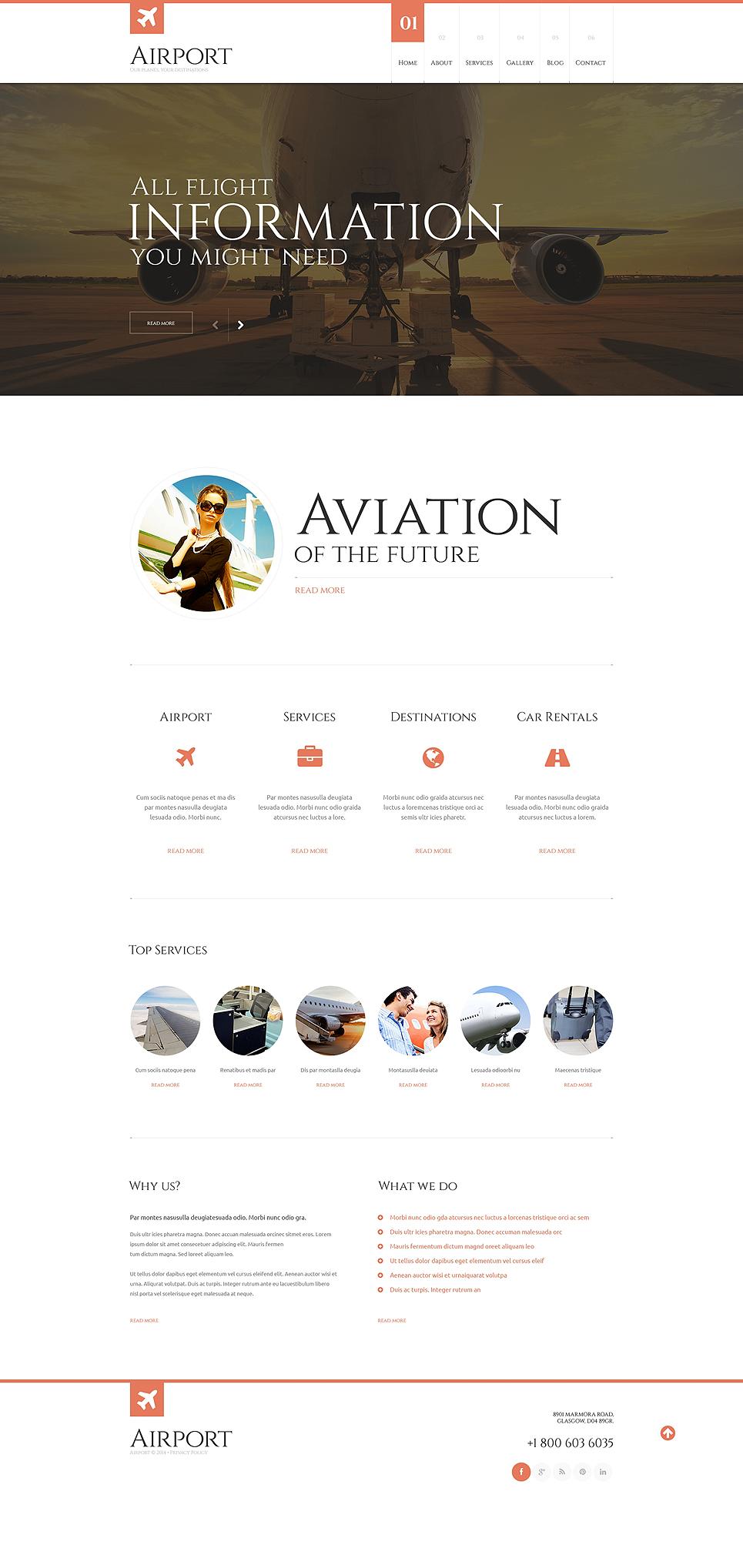 Адаптивный шаблон сайта на тему частные авиалинии #48505
