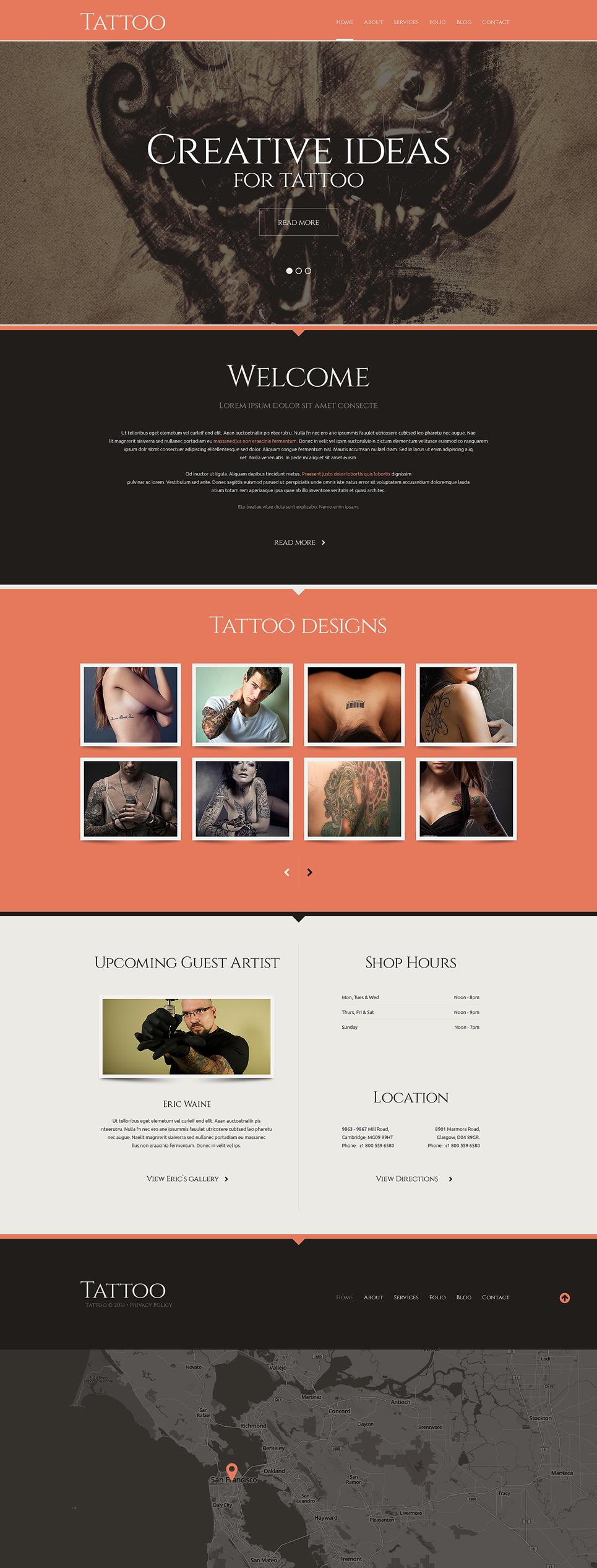 Адаптивный шаблон сайта на тему тату салон #48523