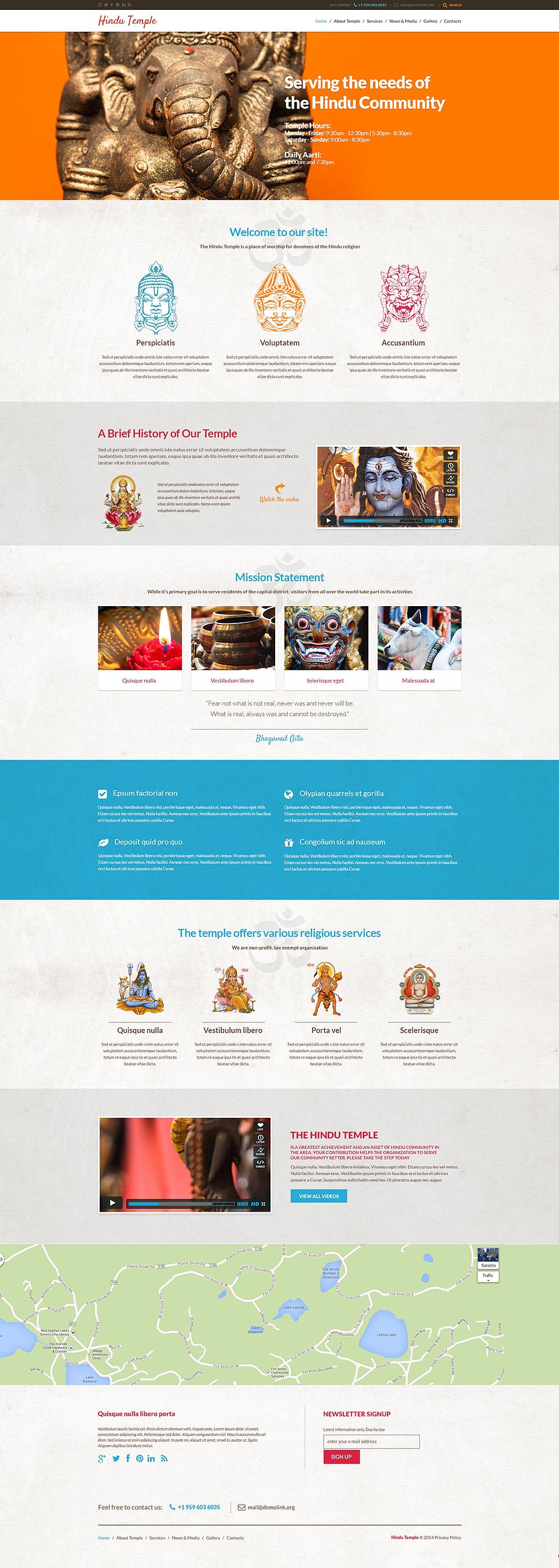 Адаптивный шаблон сайта на тему индуизм #48550