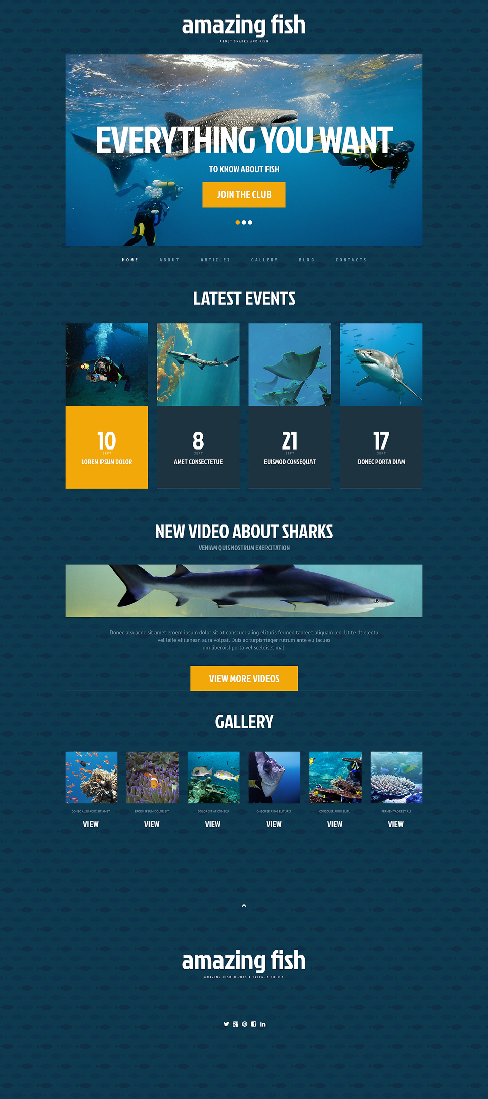 Адаптивный шаблон сайта на тему рыба #48593
