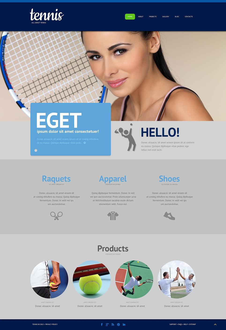 Адаптивный шаблон сайта на тему теннис #48597