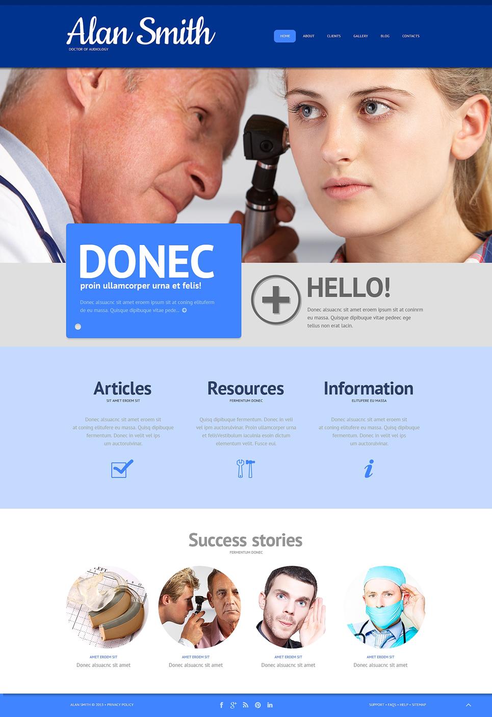 Адаптивный шаблон сайта на тему врач #48599
