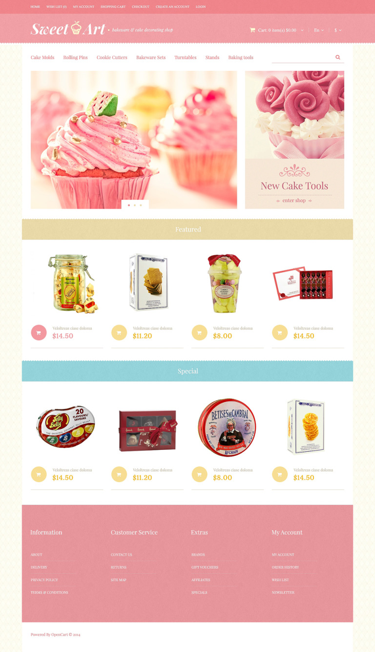 Bakeware Store OpenCart Template New Screenshots BIG