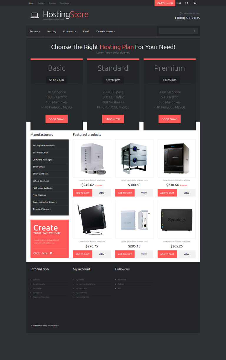 Better Hosting PrestaShop Theme New Screenshots BIG