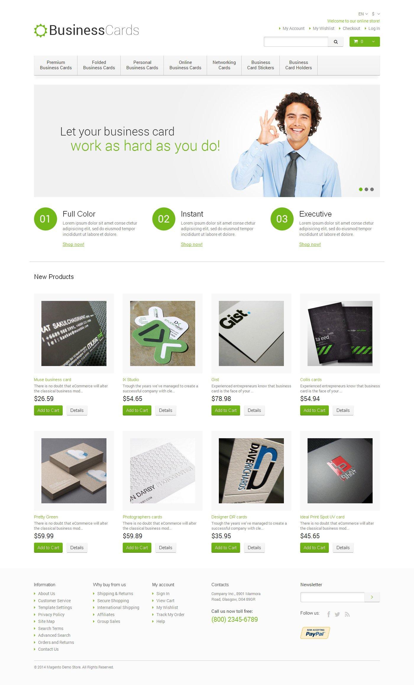 Business Cards Store Magento Theme - screenshot