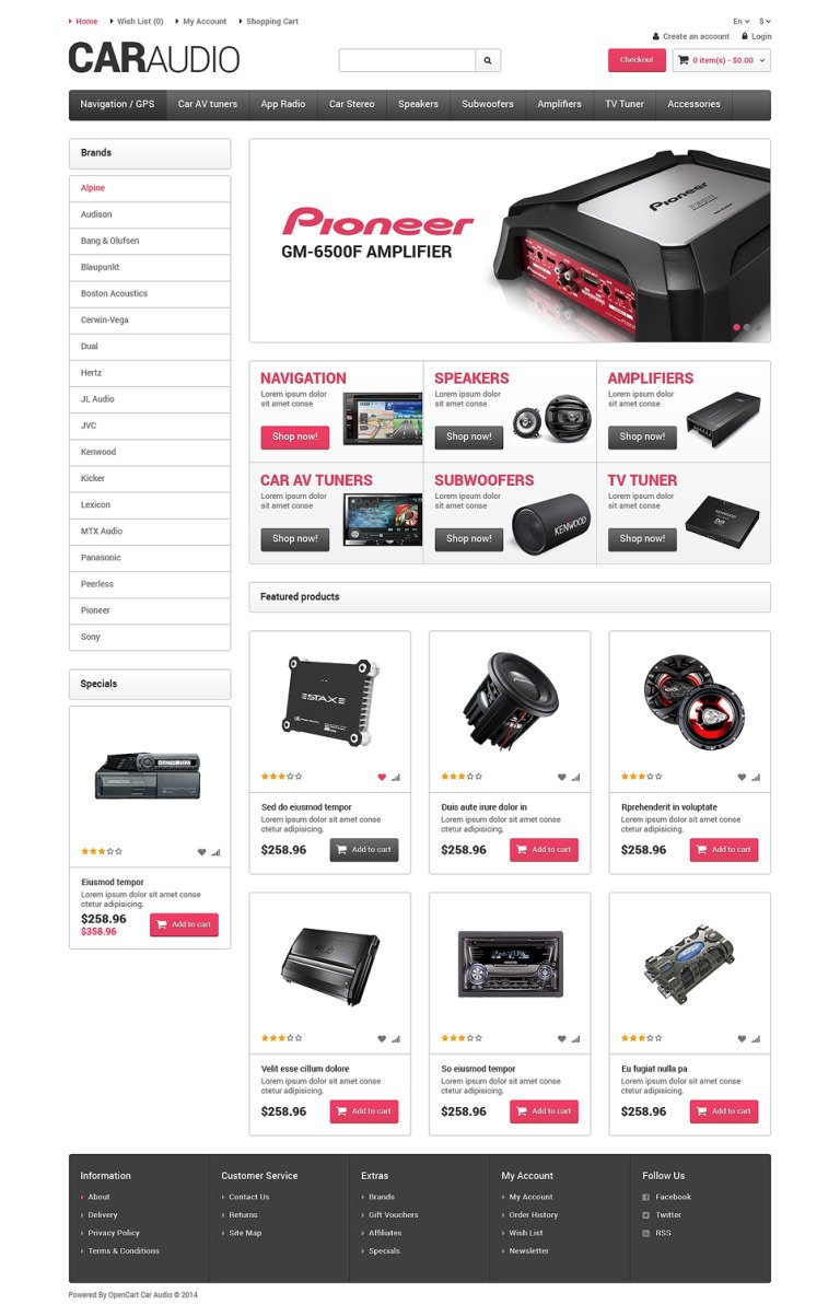 Car Audio Responsive OpenCart Template New Screenshots BIG