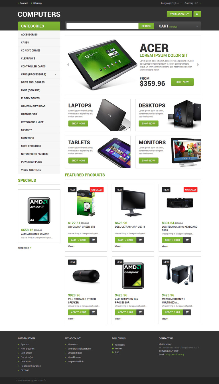 Computer Hardware PrestaShop Theme New Screenshots BIG