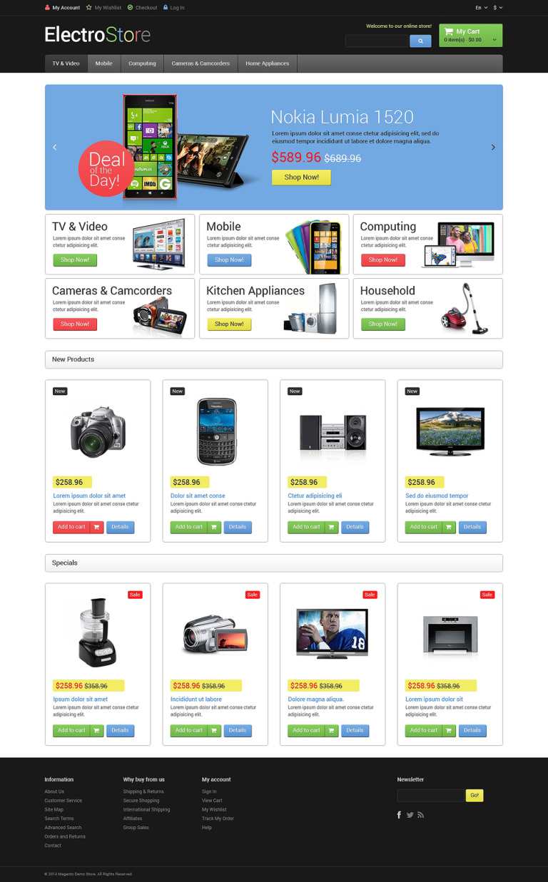 Electro Goods Magento Theme New Screenshots BIG