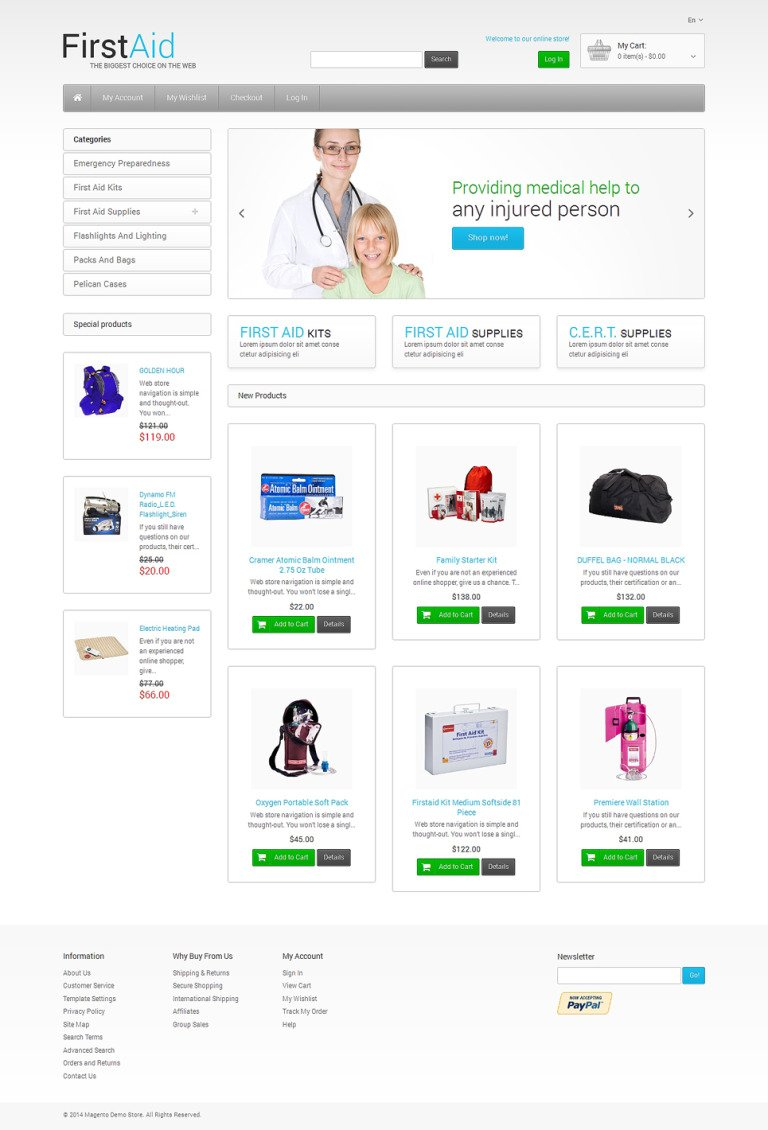 First Aid Store Magento Theme New Screenshots BIG