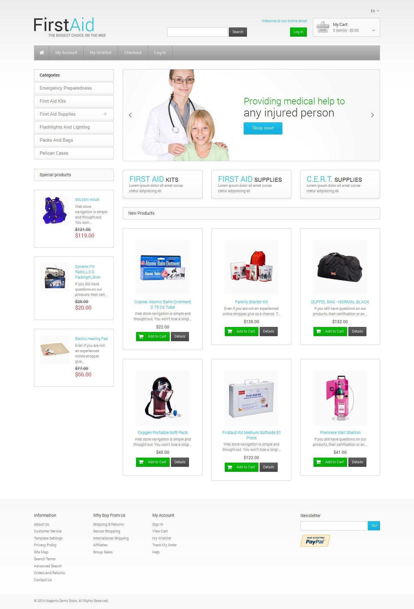 First Aid Store Magento Theme - screenshot
