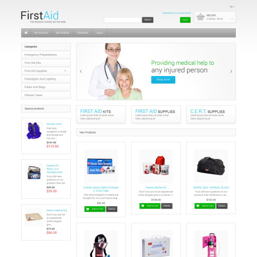 First Aid Store - Magento Template based on Bootstrap