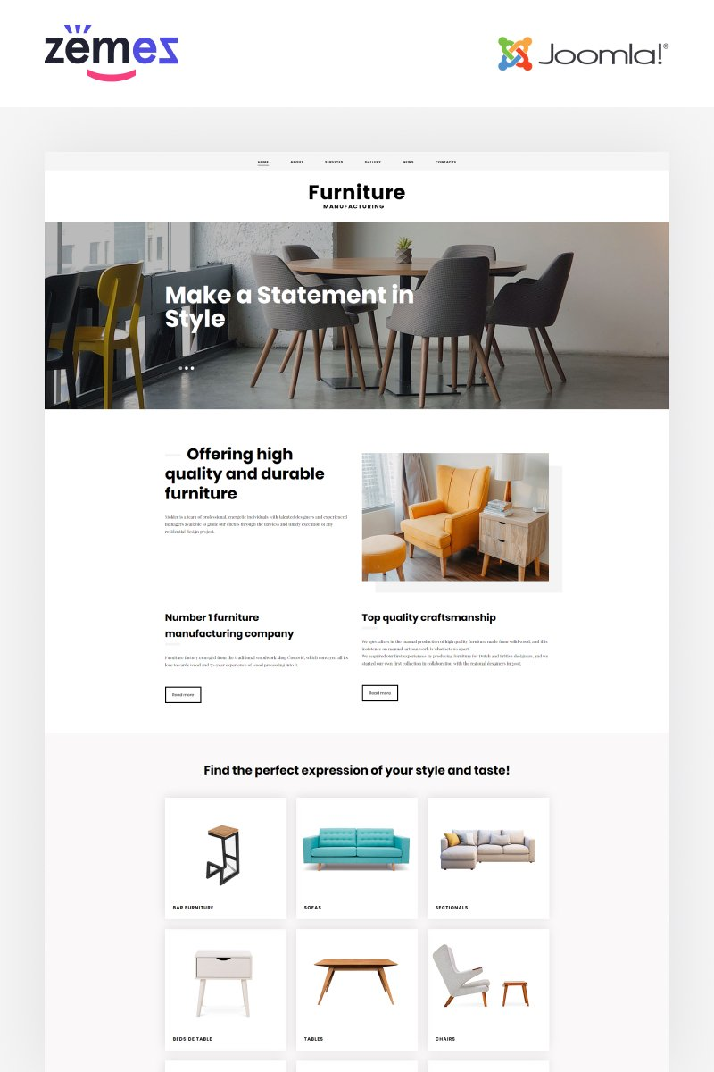 """Furniture - Ready-to-Use Stylish"" Responsive Joomla Template №48585"