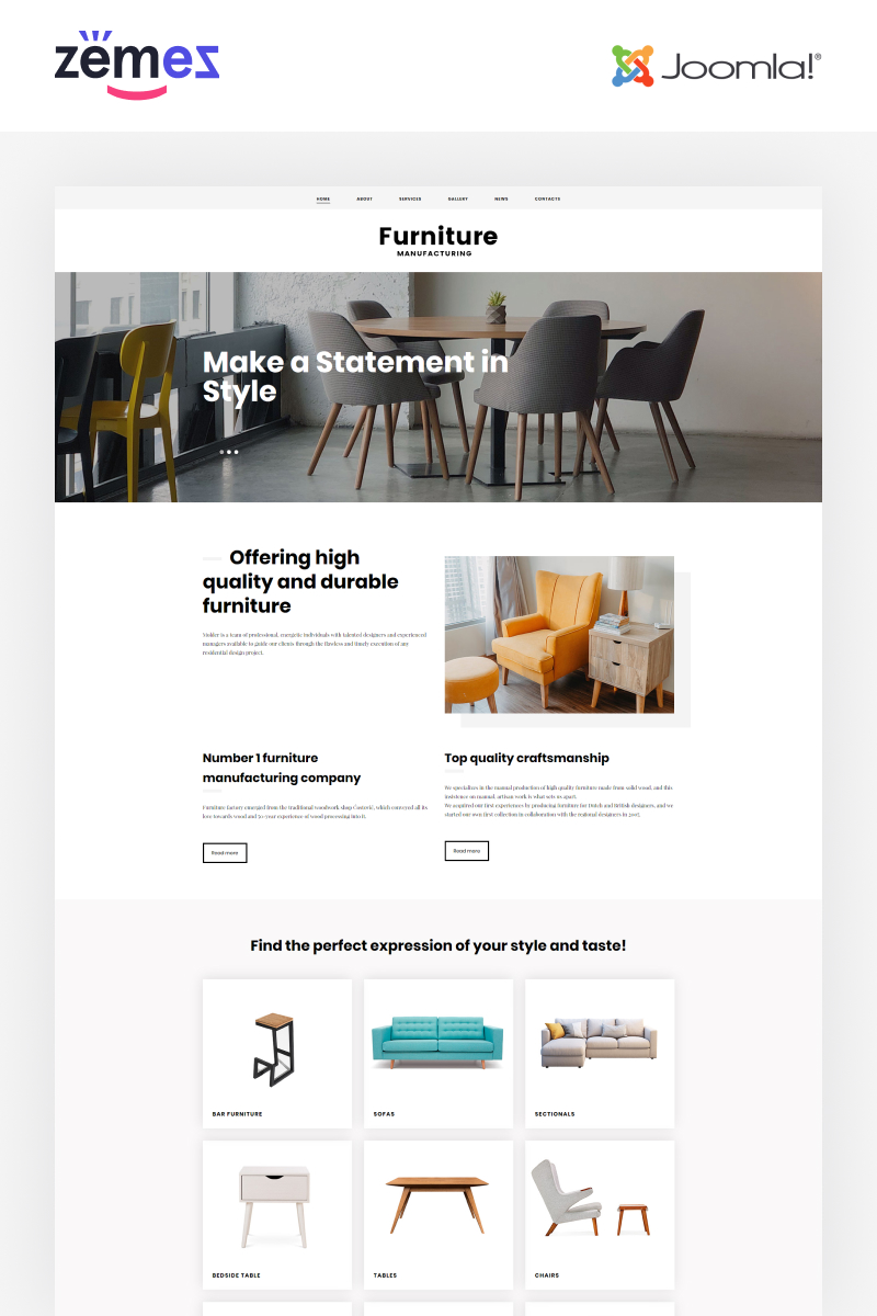 Furniture - Ready-to-Use Stylish Template Joomla №48585