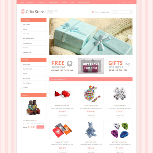 Gifts Store - OpenCart Template based on Bootstrap