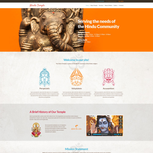 Hindu Temple - WordPress Template based on Bootstrap