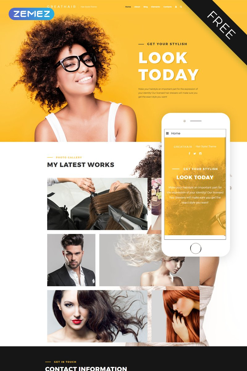 "Joomla Vorlage namens ""Great Hair - Hair Salon Stylish"" #48519 - Screenshot"