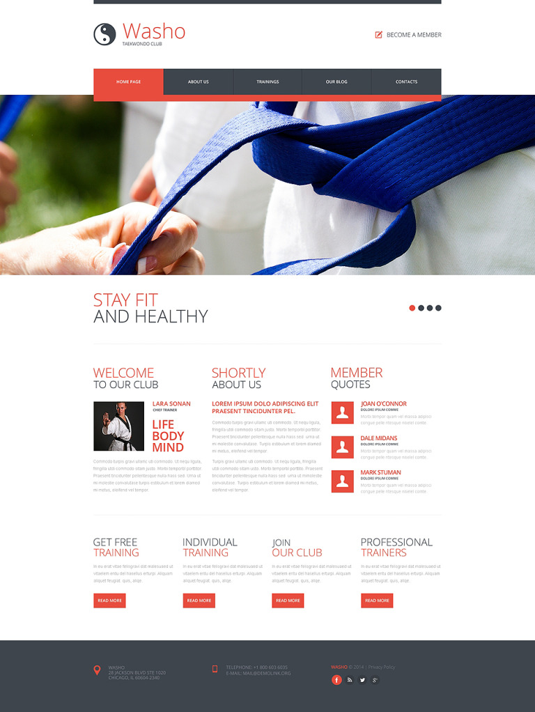 Martial Arts Responsive Website Template New Screenshots BIG