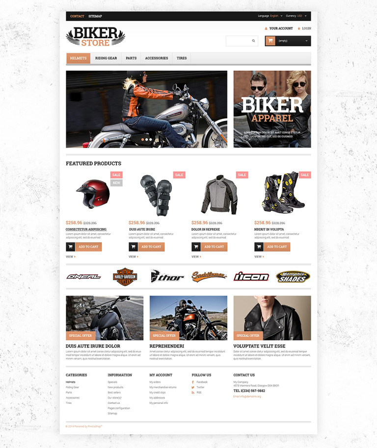Motorcycle Stuff PrestaShop Theme New Screenshots BIG
