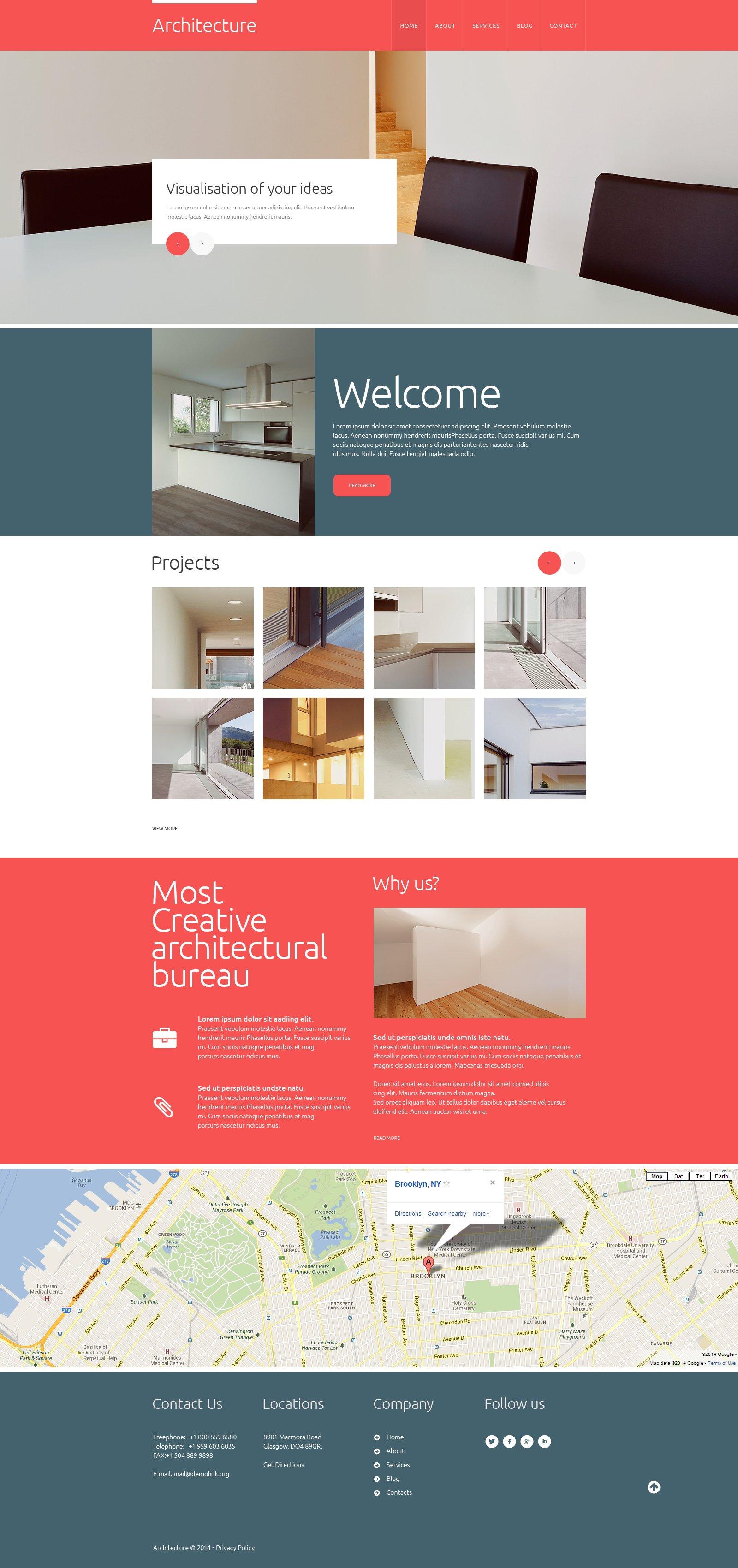Plantilla web 48558 para sitio de arquitectura for Arquitectura sitio web