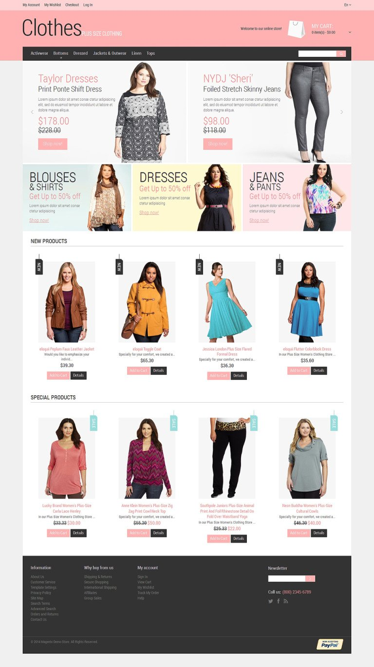 Plus Size Clothing Magento Theme New Screenshots BIG