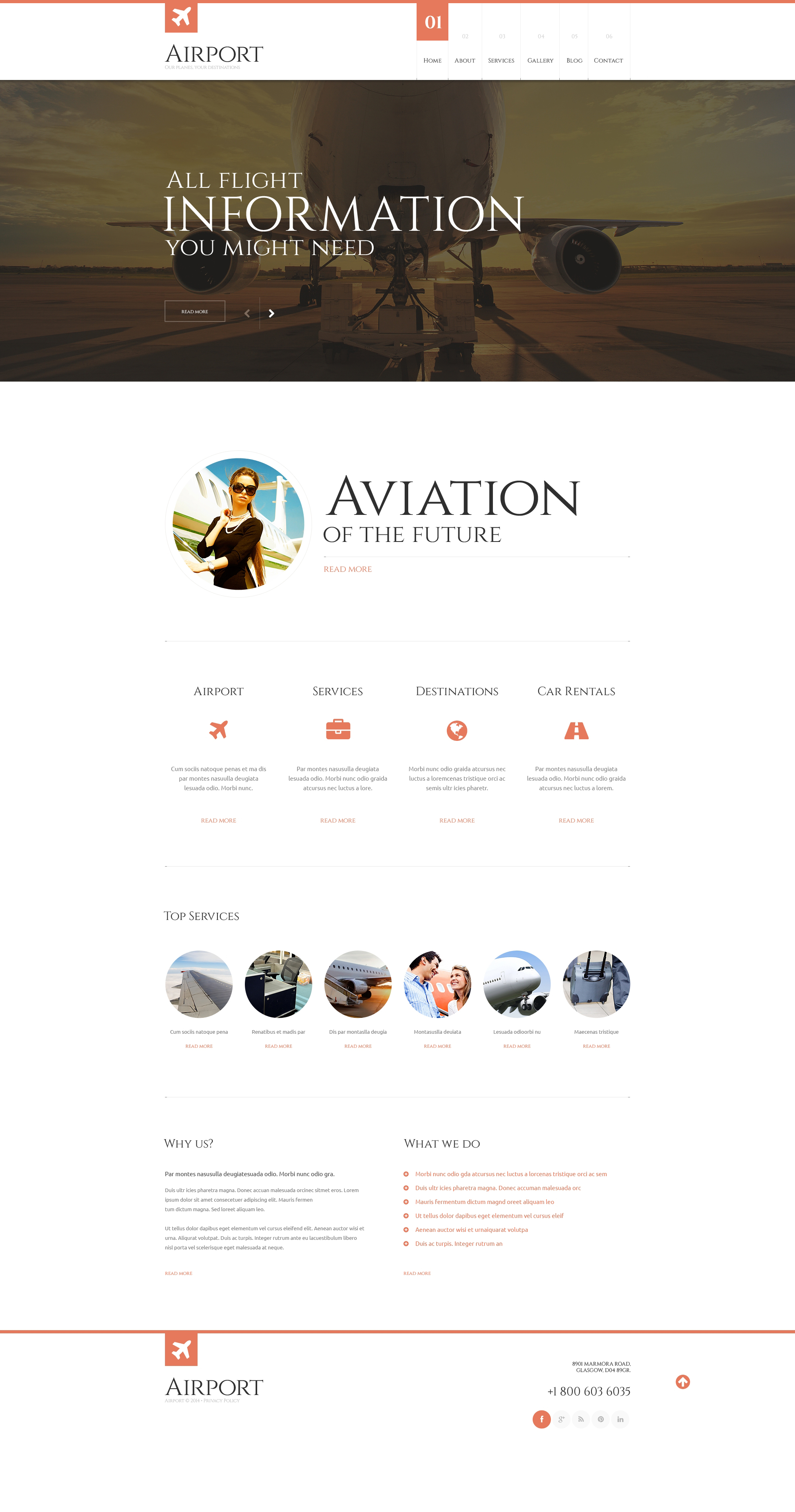 Private Airline Responsive WordPress Theme - screenshot