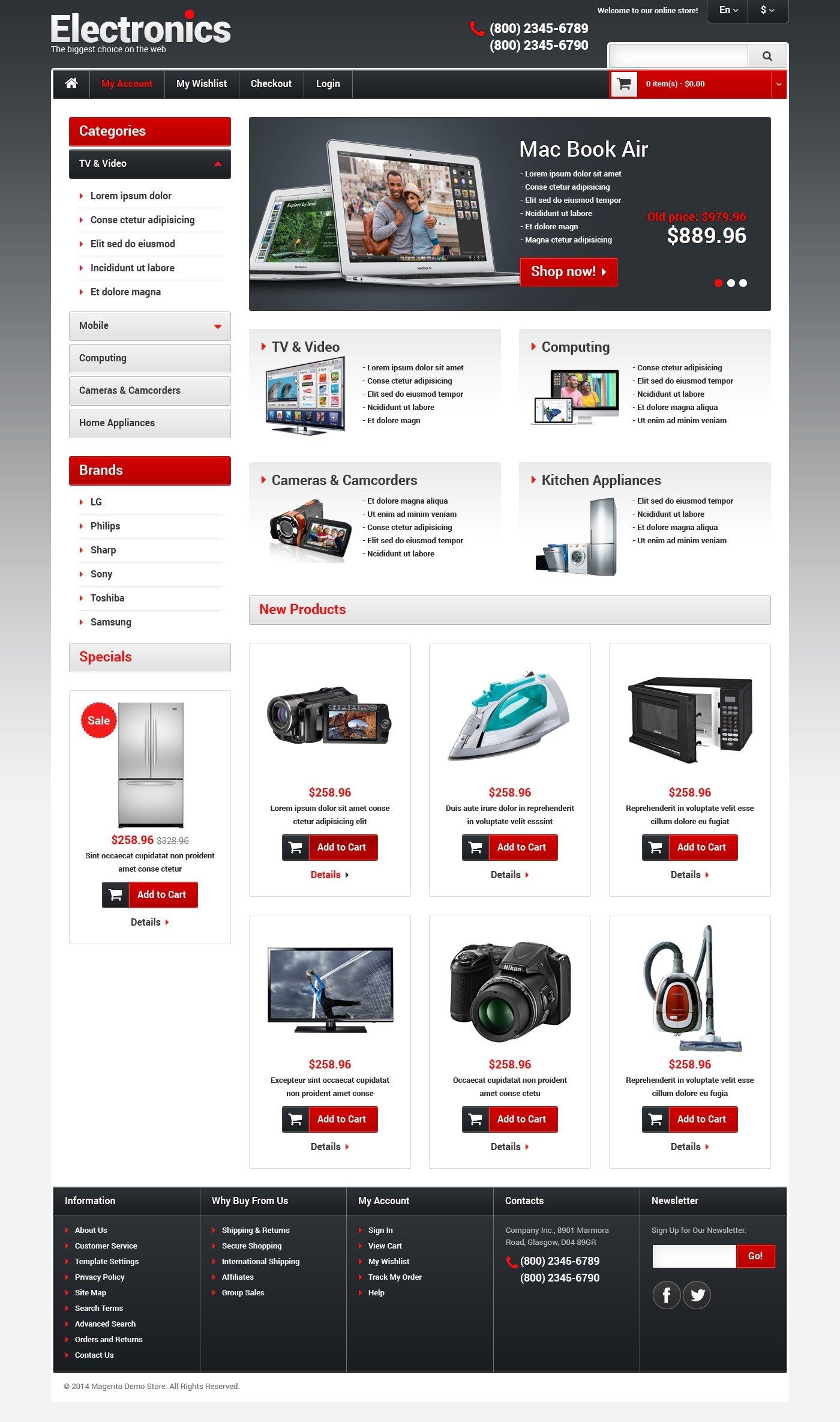 Responsive Elektronik Mağazası Magento #48579