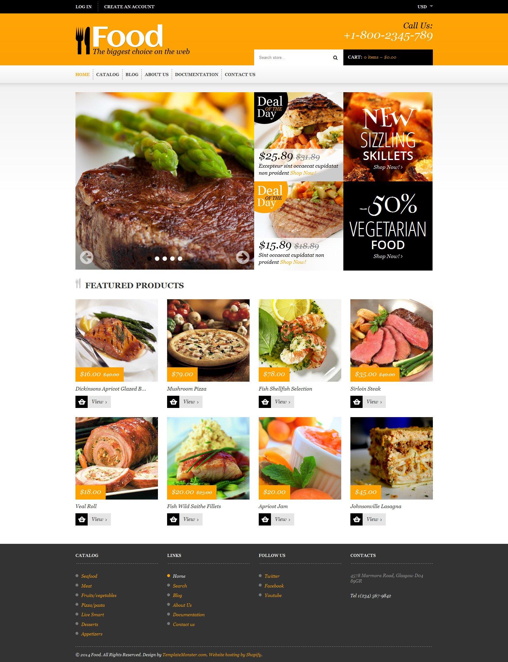 Responsive Yiyecek Mağazası Shopify #48535