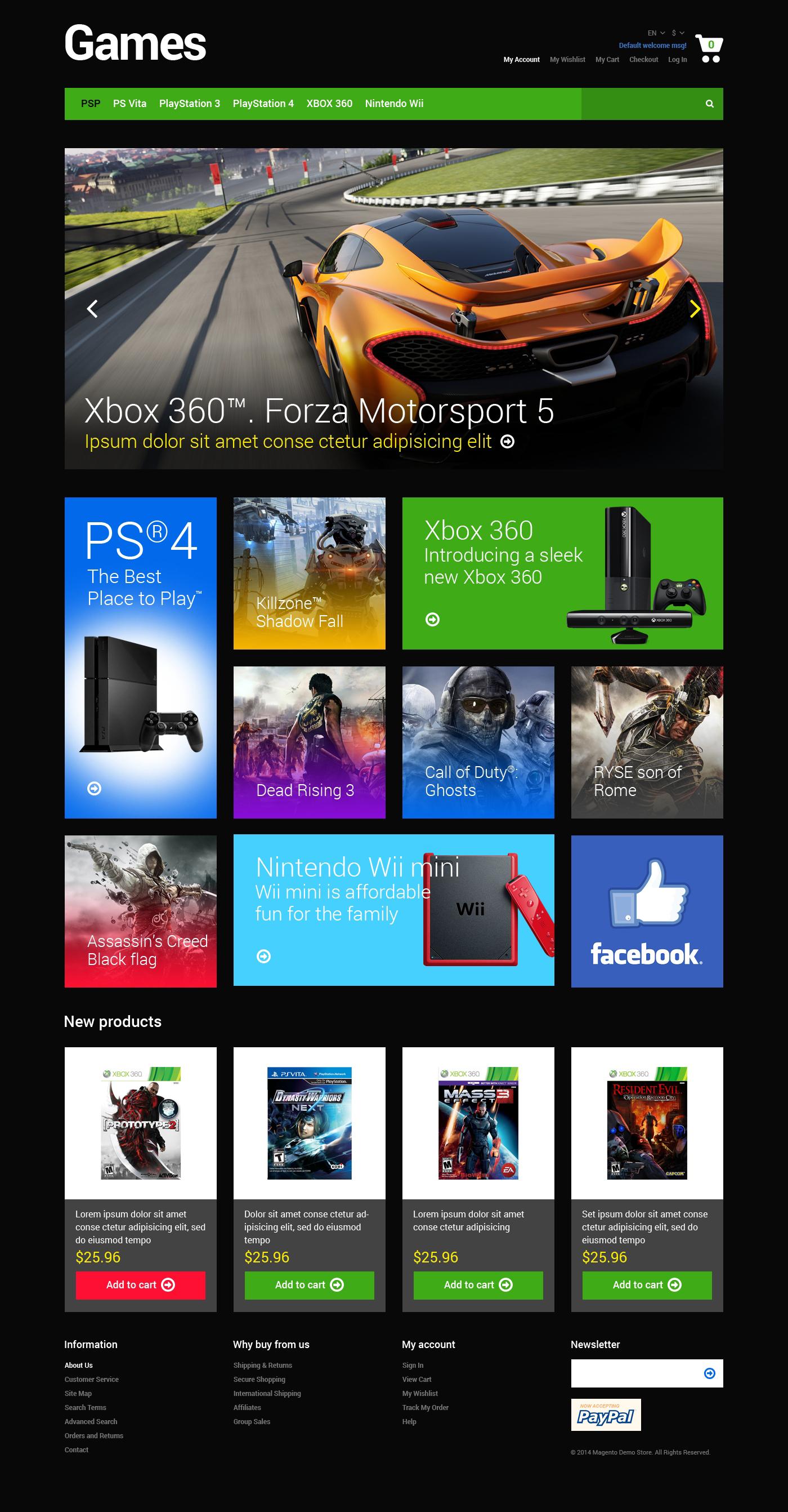 Responsives Magento Theme für Spieleportal- #48580 - Screenshot