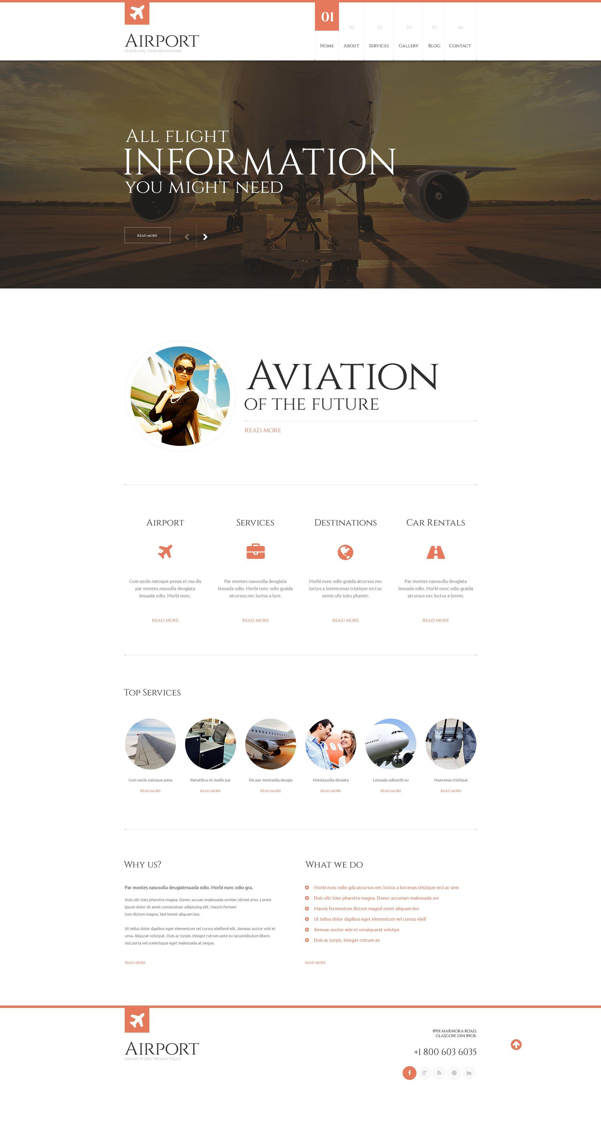 Responsives WordPress Theme für Luftverkehrsunternehmen #48505