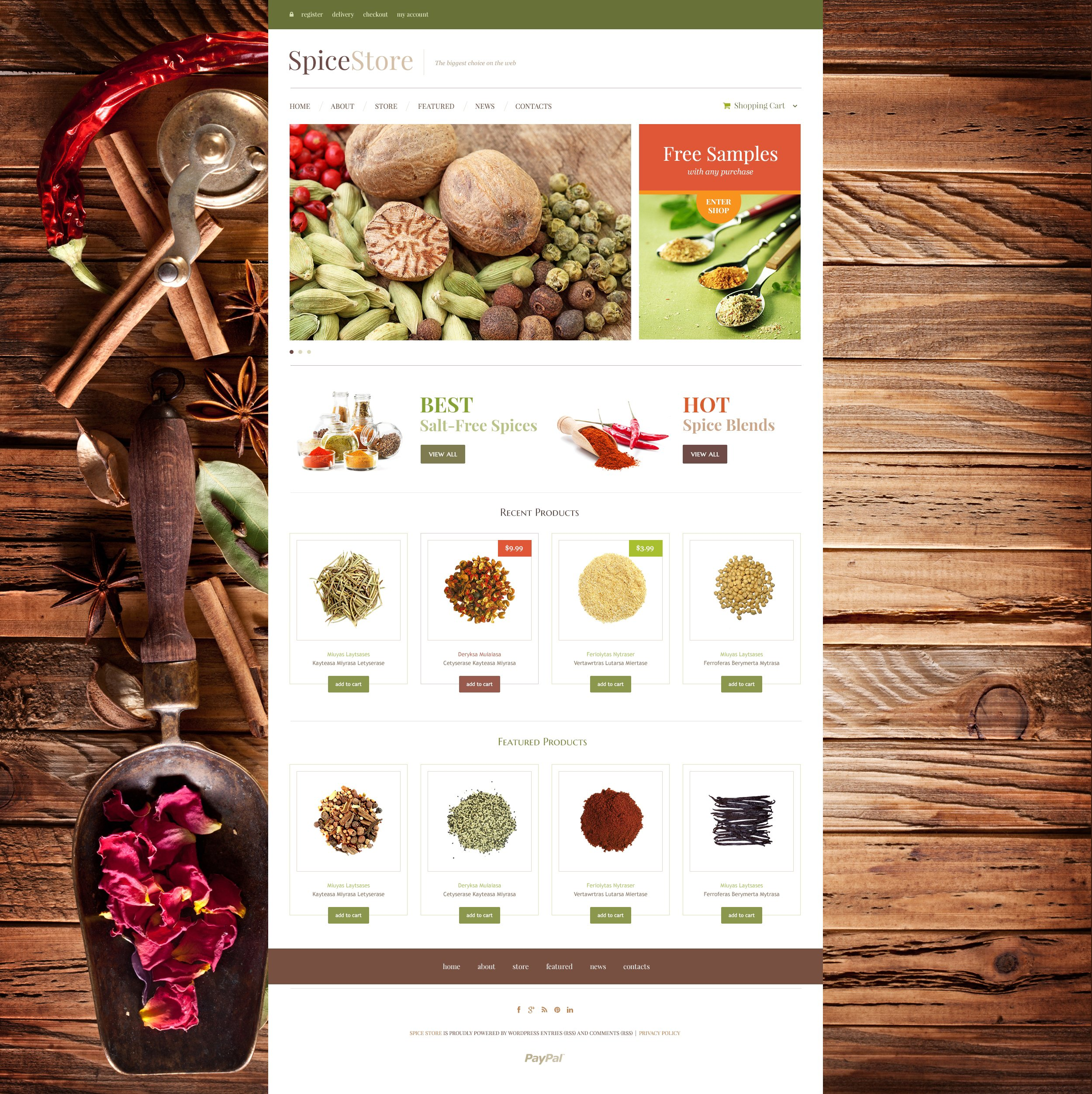 Responsivt Spice Shop WooCommerce-tema #48531