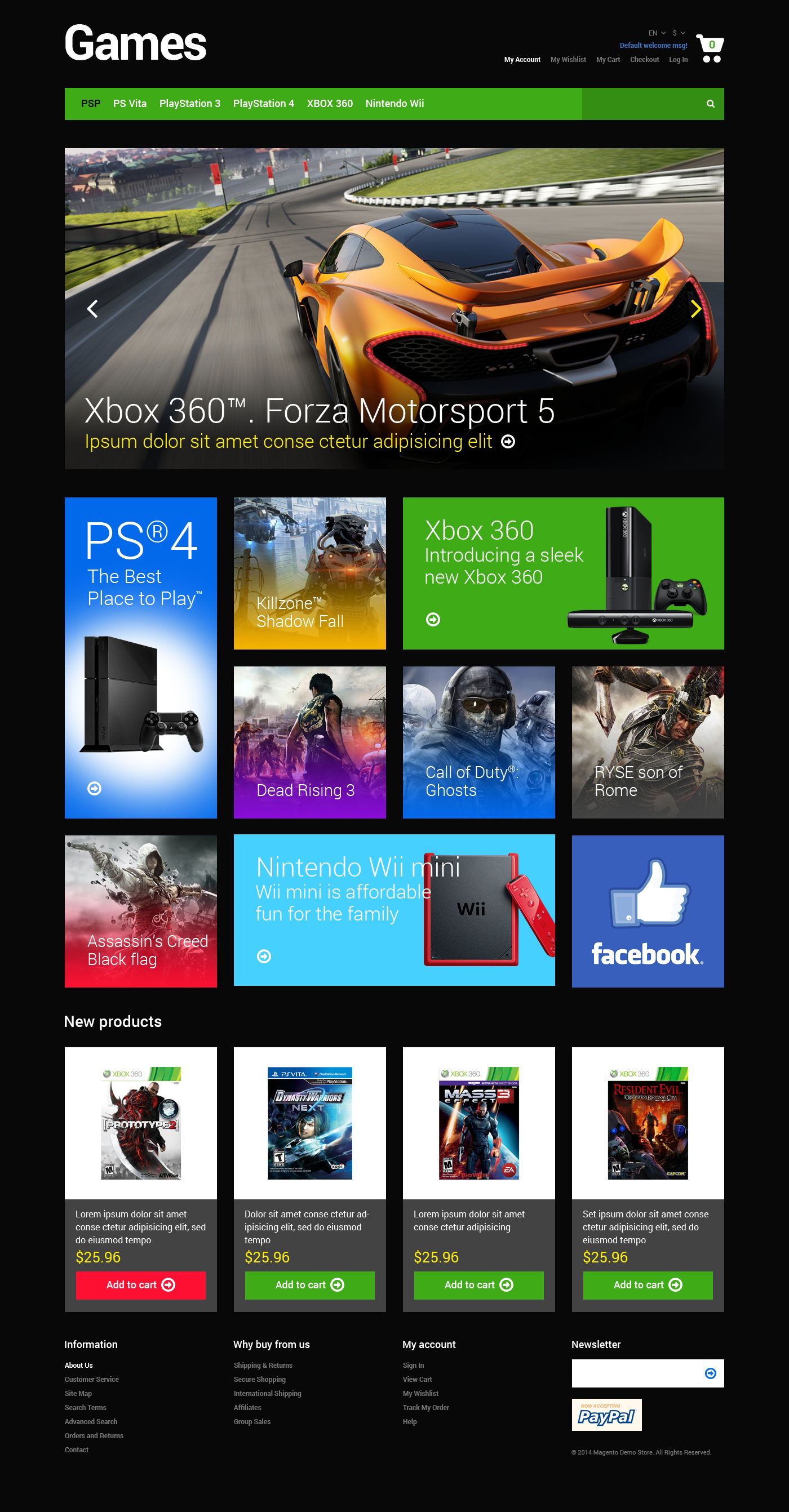 Responsywny szablon Magento #48580 na temat: portal gier - zrzut ekranu