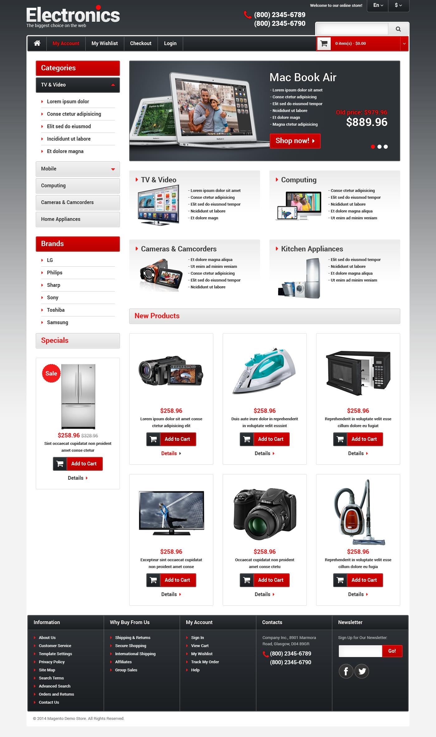 Reszponzív Elektronikai üzlet Magento sablon 48579