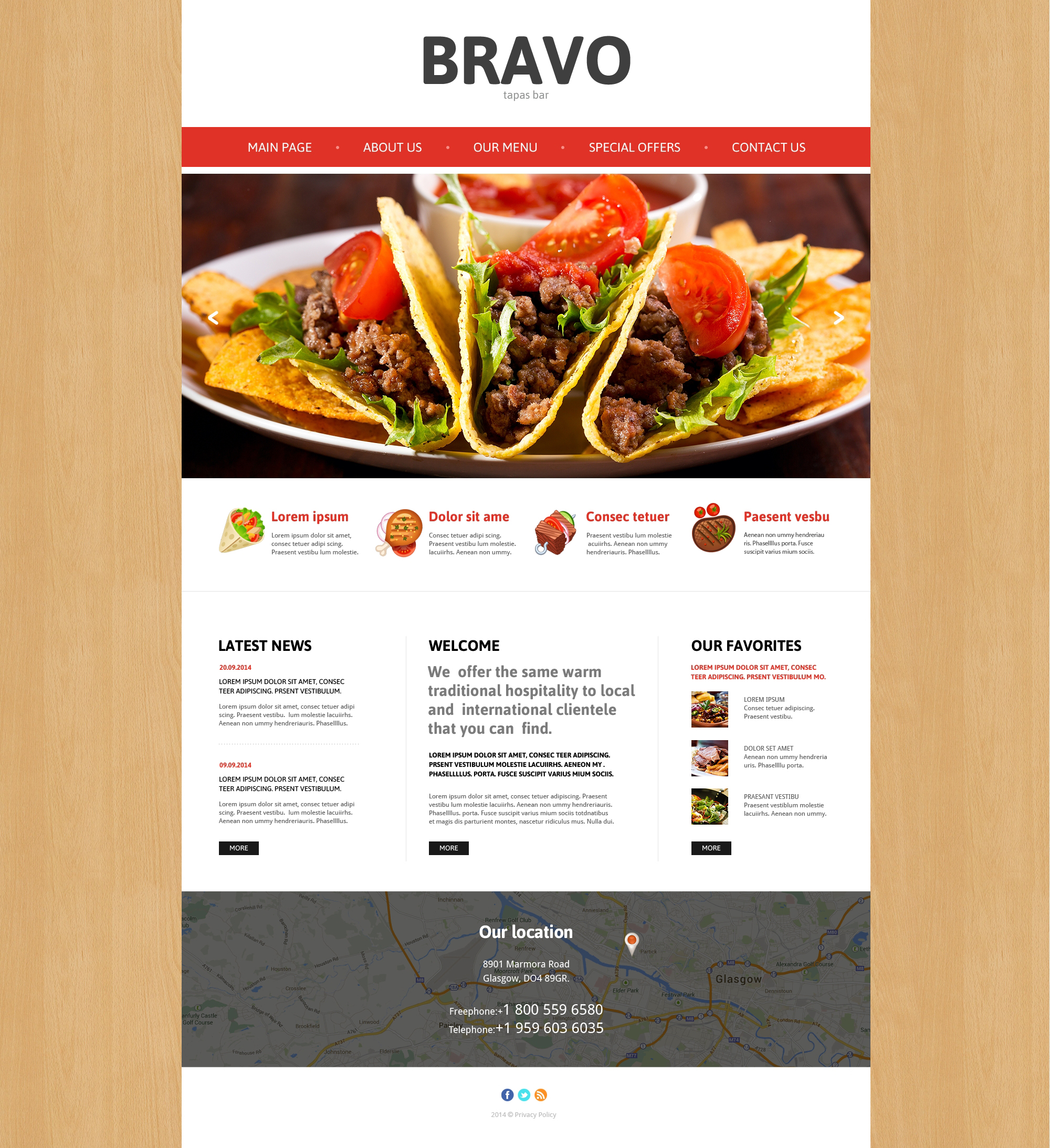 Tapas restaurant responsive website template 48501 for Tapas menu template