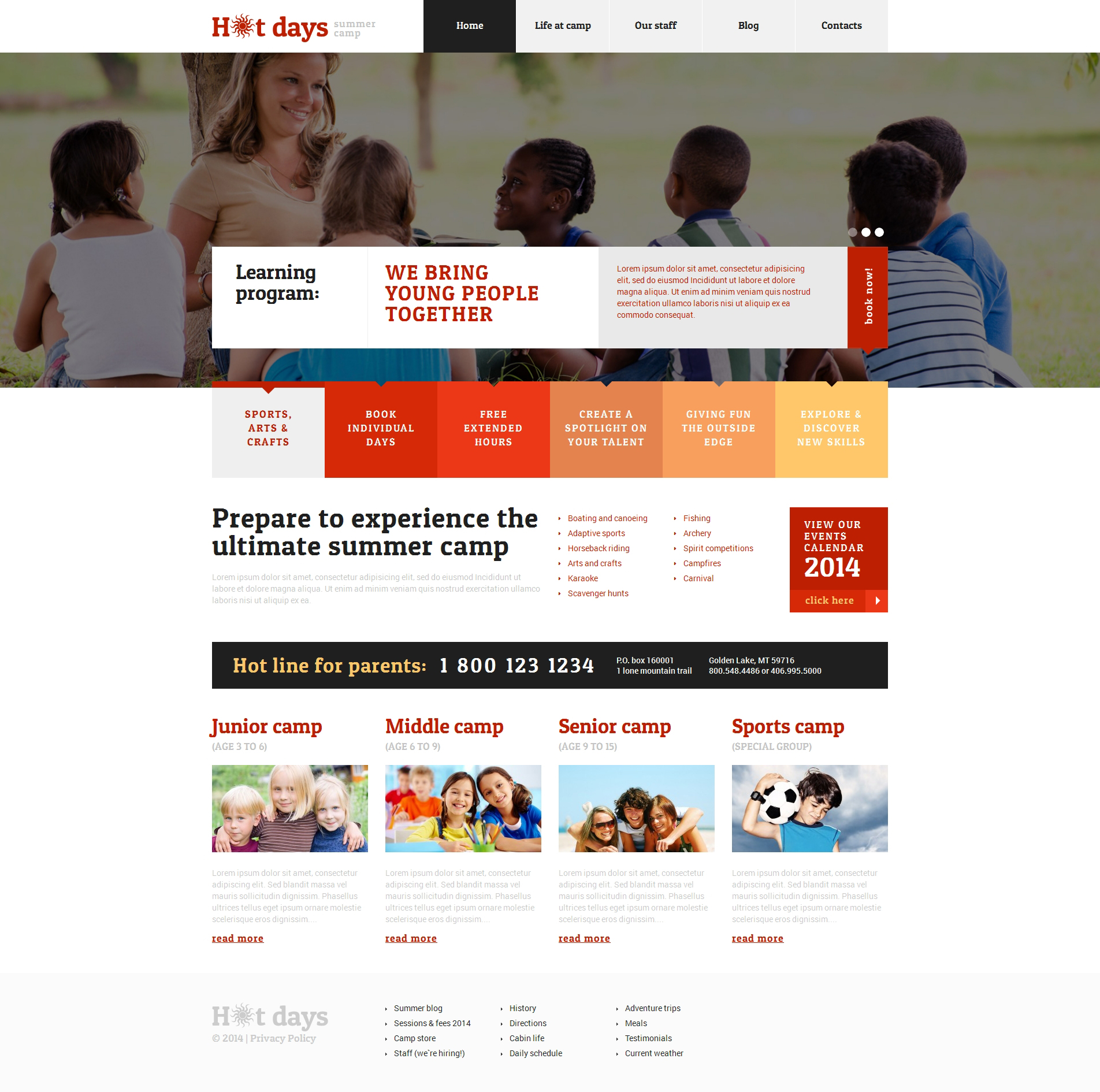 "Tema De WordPress ""Summer Camp Responsive WordPress Theme"" #48548"