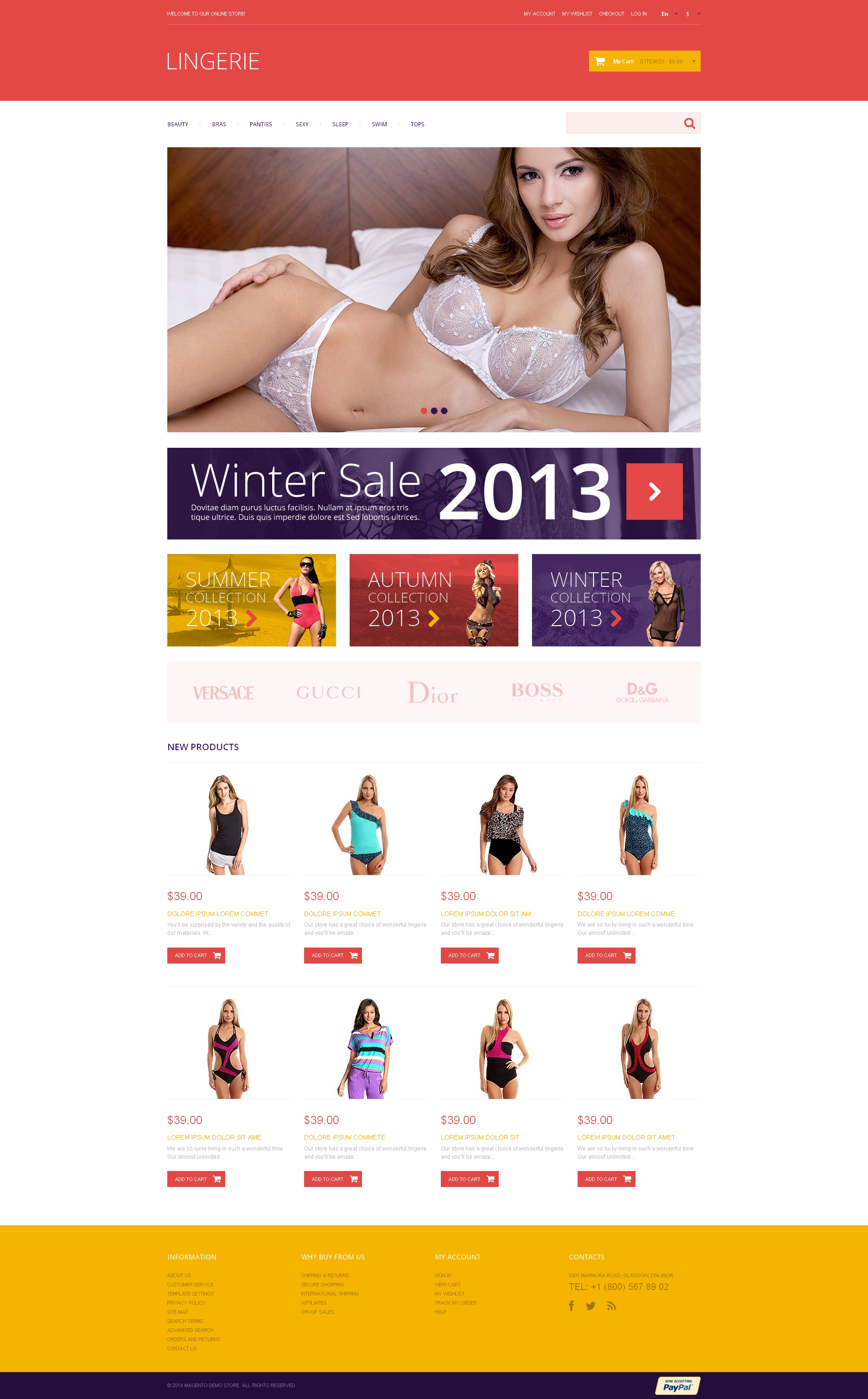 Tema Magento Flexível para Sites de Lingerie №48584 - screenshot