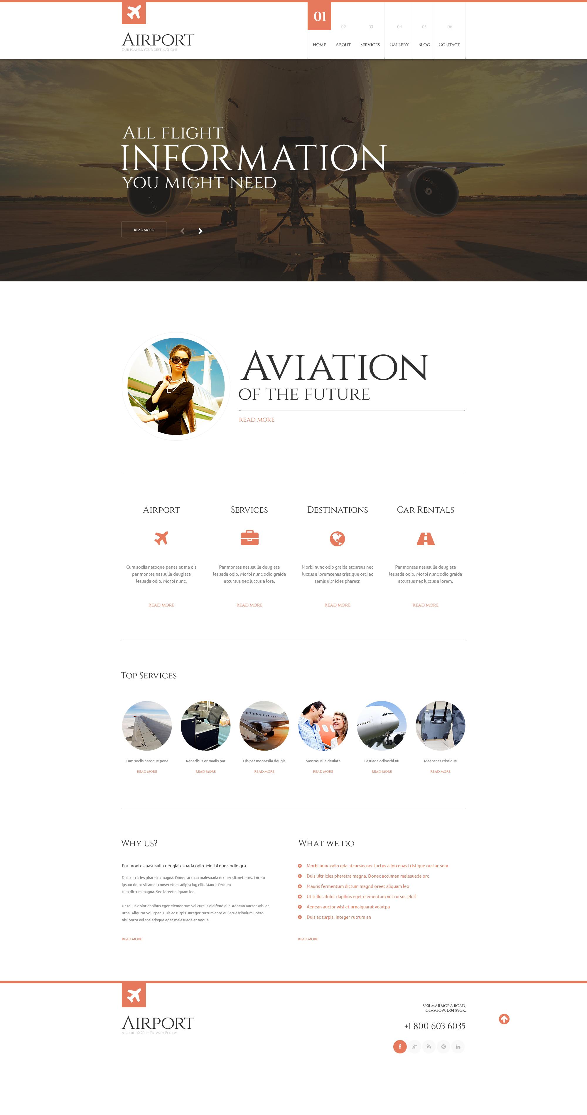 Template WordPress Responsive #48505 per Un Sito di Compagnia Aerea Privata