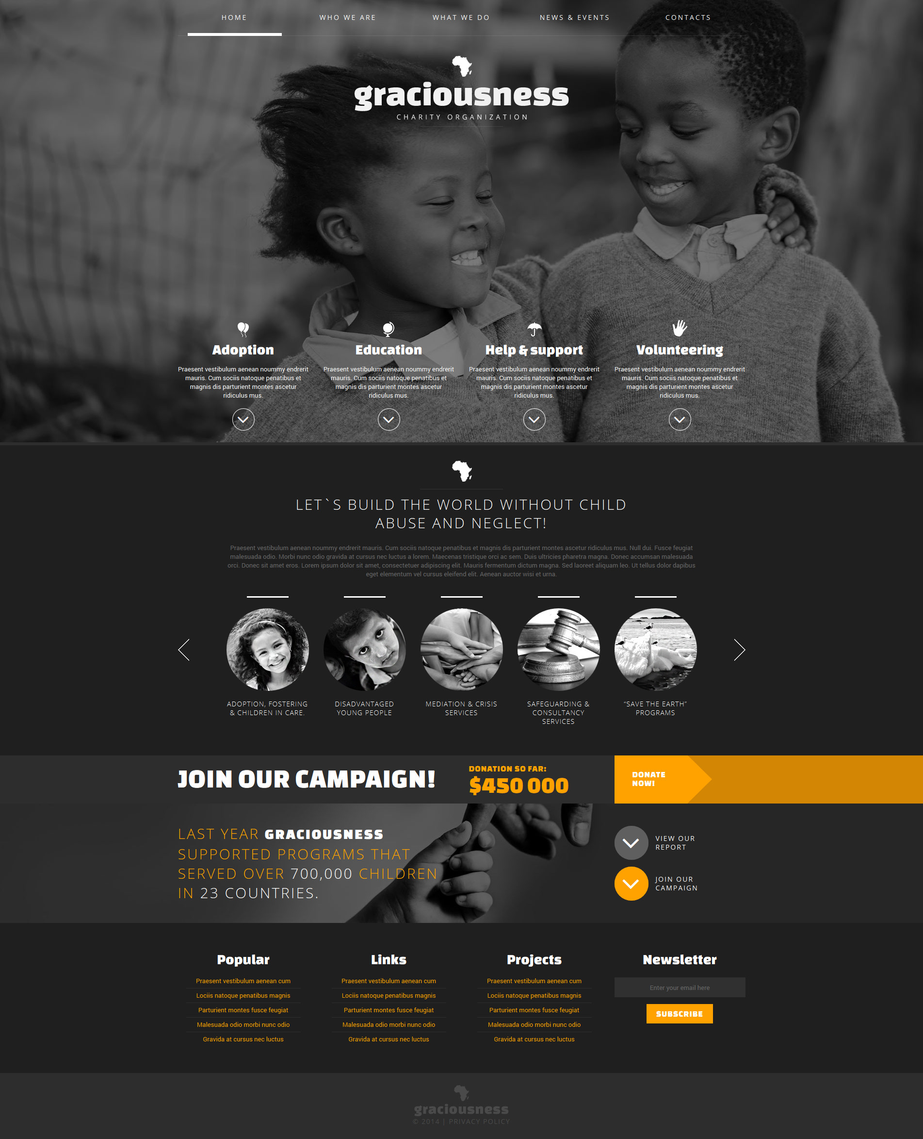 Thème Joomla adaptatif pour site de charité pour enfants #48586 - screenshot