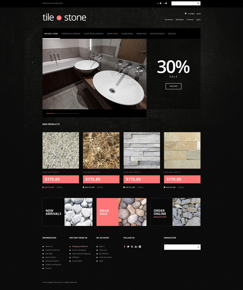 Tile Stone Store Magento Theme New Screenshots BIG